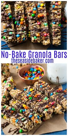 These No-Bake Granola Bars are fun, easy to make and totally kid friendly. Plus they taste so delicious, you'll never go back to the store bought versions again. And click thru for suggestions on how to make these an even healthier treat! Granola Barre, No Bake Granola Bars, Muesli Bars, Homemade Granola Bars, Kids Granola Bar Recipe, Healthy Granola Bars, Oatmeal Bars, Baking Recipes For Kids, Baking With Kids