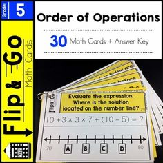 Grade Order of Operations Flip and Go Math Cards - 30 math task cards that reinforce grade understandings of numeral expressions. 5th Grade Math Games, Sixth Grade Math, Teaching 5th Grade, 5th Grade Teachers, Teaching Math, Maths, Math Lab, Go Math, Math Stations