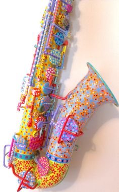 Living Color - Hand Painted Sax by BeesCuriosityShoppe on Etsy  I would totally do this to my baritone Saxophone!!
