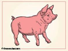 Pig Free Vector Silhouette Clip Art, Animal Silhouette, Free Vector Images, Vector Free, Zoo Animals, Livestock, Sea Creatures, Vector Graphics, Vector Design
