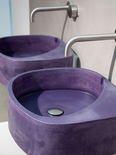 Wall Mounted Purple Cement Washbasin Elletre By Moab 80 Design Gabriella Ciaschi