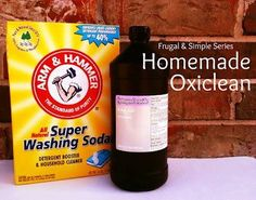 "Homemade ""Oxiclean""  1/2 cup Arm and Hammer Super Washing Soda 1/2 cup Hydrogen Peroxide Hot Water"