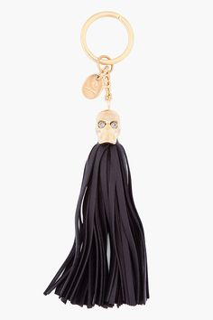Alexander Mcqueen Black Leather Tassel Key Chain