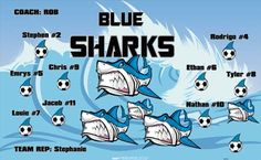 Sharks-Blue-42555 digitally printed vinyl soccer sports team banner. Made in the USA and shipped fast by BannersUSA. www.bannersusa.com