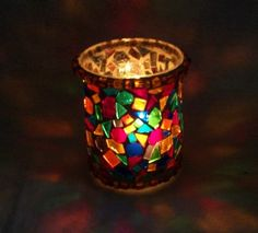 Stained Glass hurricane candle holders