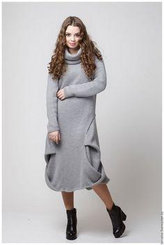 Вязаное платье, платье вязаное, трикотажное платье, платье трикотажное, шерстяное платье, платье шерстяное, теплое платье, платье теплое, вязаная одежда, повседневное платье, платье-баллон