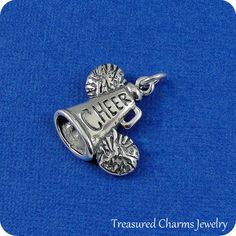 Cheerleader Megaphone and Pom Poms Charm - Sterling Silver Cheerleader Megaphone Charm for Necklace or Bracelet Cheer Tattoo, Cheerleading Gifts, Large Hole Beads, Pom Poms, Charm Jewelry, Cufflinks, Charmed, Sterling Silver, Lobster Clasp