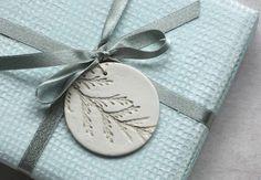Salt Dough ornaments and tags - love the cedar branch detail