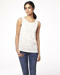 Sleeveless top in burnout motif RW&CO. Spring 2014 Collection this would go nice with corral pants Spring 2014, Winter Outfits, Basic Tank Top, Tank Tops, My Style, Clothes, Shopping, Collection, Nice
