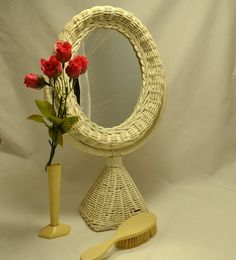 White Wicker Framed Mirror  Free Standing Oval by ChicMouseVintage
