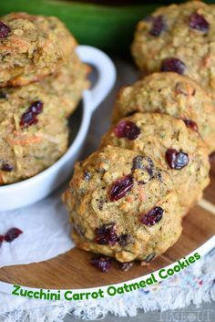 These amazing Zucchini Carrot Oatmeal Cookiesare packed full of zucchini, carrots, oatmeal, dried cranberries, and coconut! All the good stuff! // Mom On Timeout