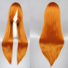 Code Geass Shirley Fenette 80CM Orange-Red Long Straight Anime Cosplay Hair Wig+Free Wig Cap