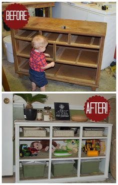 Awesome upcycle from old dresser to toy shelves! The old dresser to toy shelves makeover. Dresser before and after makeover.