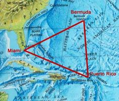 The Bermuda Triangle (also known as Devil's Triangle and Devil's Sea) is a nearly half-million square-mile (1.2 million km2) area of ocean roughly defined by Bermuda, Puerto Rico, and the southernmost tip of Florida. This area is noted for   a high incidence of unexplained losses of ships, small boats, and aircraft..