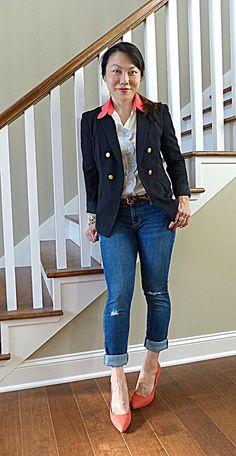 #anntaylor blazer #modcloth shirt #oldnavy jeans #pourlavictoire heels