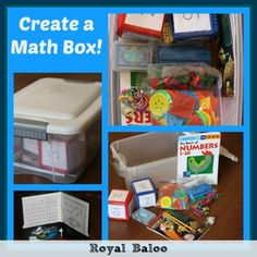 Math Box - Enchanted Homeschooling Mom. Ideas of what to include in a box to encourage maths play. Links to fun maths worksheets #maths