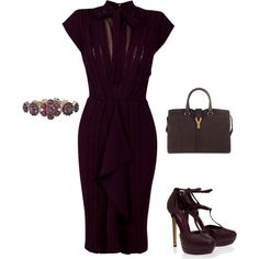 I want it all: Gorgeous plum Elie Saab dress and shoes and, of course, an Yves Saint Laurent bag. :) #SephoraColorWash