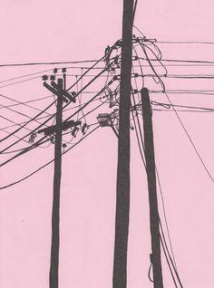 telephone poles illustration by Natalya Lobanova (blog: happy2bsad.com)