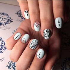 Accurate nails, Black and blue nails, Black pattern nails, Blue and white nails, Drawings on nails, Ethnic nails, Indian nails, Pattern nails