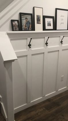 Diy Furniture Couch, House Furniture, Ideas Para, Diy Ideas, Decor Ideas, Board And Batten, Living Room With Fireplace, Coat Hooks, Wall Spaces