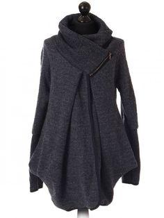 Italian ladies woollen coat with zip detail collar - dark grey