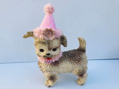 Excited to share this item from my #etsy shop: Vintage, Edward Mobley Co., Rubber Squeaky, Dog Doll Toy, Up-Cycled with Pink, Sparkly Birthday Hat, Pink Furry Collar, and Pink Jewels #brown #pink #vintagerubberdog #birthdaydog #upcycleddog #edwardmobleytoy #collectibletoy #rubberdoggift #kitschyrubberdog
