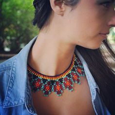 Handmade jewelry, accessories and swimwear Beads Jewelry, Candy Jewelry, Fall Jewelry, Boho Jewelry, Jewelry Crafts, Jewlery, Tribal Necklace, Diy Necklace, Necklaces