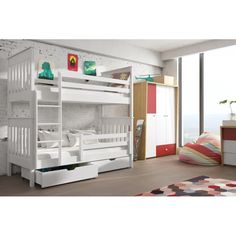3 Bunk Beds, Bunk Beds With Drawers, Wooden Bunk Beds, Bunk Beds With Storage, Under Bed Storage, Bed Base, Cool Beds, Double Beds