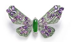 Wallace Chan Painted Lady brooch from the Fluttery Series, created for the Biennale des Antiquaires 2012 with jadeite, diamonds, pink sapphires and rubies. The butterfly is said to be the keeper of beauty.
