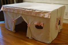 Kitchen Table fort for kids Tutorial