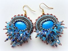 Bead Embroidered Jewelry Set Sky Blue Earrings by KristinesBeads, $100.00