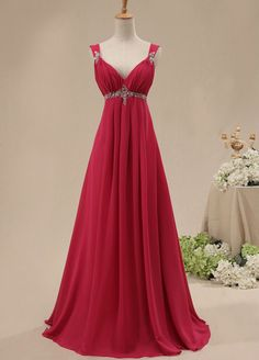 13188b00afd6 V-neck Sweep Train Chiffon Evening Dress