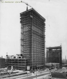 CIS Building under construction, Manchester. we could see this from the back of our flat in Blackley