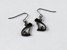 Black Cat Earrings in Gunmetal by LuvCherie Jewelry on Etsy