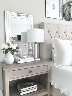 Home decorating ideas bedroom nightstand styling. simple and elegant ways to style your nightstand. Simple Bedroom Decor, Home Decor Bedroom, Living Room Decor, Diy Home Decor, Master Bedroom, Diy Bedroom, Bedroom Ideas, Bedroom Romantic, Bedroom Neutral
