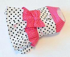 Dog Harness Dress Black Polka Dots with Pink Bows and Pink Dots