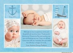 Blue Nautical Baby Boy's Christening Collage Thank You