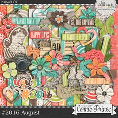 #2016 August - Kit by Connie Prince. Each month during 2016 a new #2016 Collection will be released! These are perfect for scrapping monthly recap layouts, Project 365, Project 52, Life Events, or any layout that you can dream up!  Scrap for hire / others ok