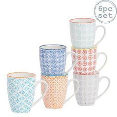 Nicola Spring Hand Printed Coffee Mugs - 360ml - 6 Colours Shabby, Kitchenware, Tableware, Vibrant Colors, Colours, Japanese Prints, Serving Platters, Print Design, Coffee Mugs