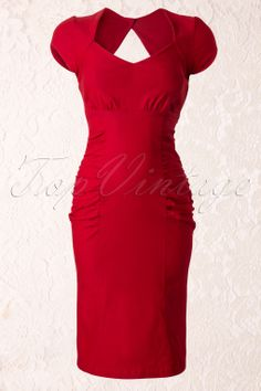 Steady Clothing - 50s Allison Pencil Dress Red