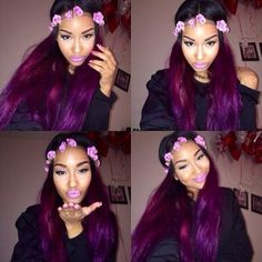 Hair + Flower Crown. XOXO Yaaaaaaaaas ! This color gives me life ! <3 <3 <3 <3 <3