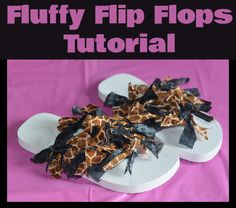 DIY Fluffy Flip Flops Tutorial  #DIY #flipflips