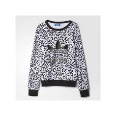 adidas Inked Crew Sweatshirt ($65) ❤ liked on Polyvore featuring tops, hoodies, sweatshirts, graphic sweatshirts, crew neck top, graphic crewneck sweatshirts, adidas tops and crew-neck tops