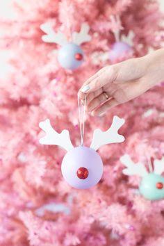 DIY Rudolph Ornaments - Studio DIY - - Turn round ornaments into DIY Rudolph ornaments with a few supplies from the craft store in 10 minutes! Rudolph Christmas, Diy Christmas Ornaments, Holiday Crafts, Christmas Time, Reindeer Ornaments, Crochet Christmas, Homemade Christmas, Christmas Projects, Christmas Ideas