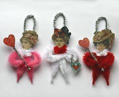 Victorian Chenille Valentine Ornaments - Valentine Decorations - Handmade. $12.00, via Etsy.
