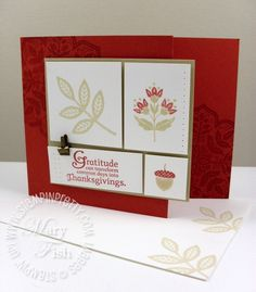 handmade Thanksgiving card ... images from Day of Gratitude ... like the panel made of sections with different stamps from the set ... matching envelope ... tone on tone stamping inside ... Stampin' Up!