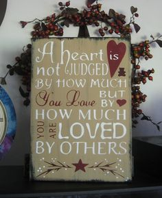 Primitive Sign A Heart Is Not Judged Subway Art Typography Painted Wooden Sign | eBay