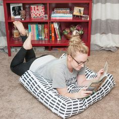 Perfect for beginners and novice sewers: and easy-to-make and comfy floor pillow! Great for curling up with a good book or magazine!