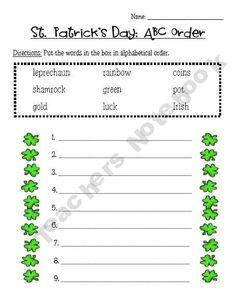 St Patrick's Day Alphabetical Order