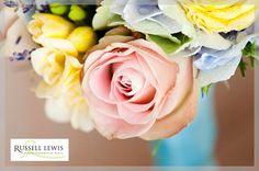 Pastel coloured wedding bouquet detail